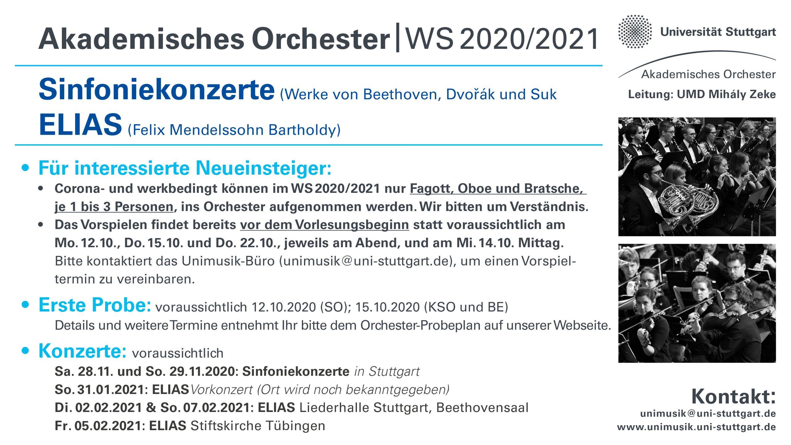 Vorläufiger Programm des Akad. Orchesters WS2020/2021